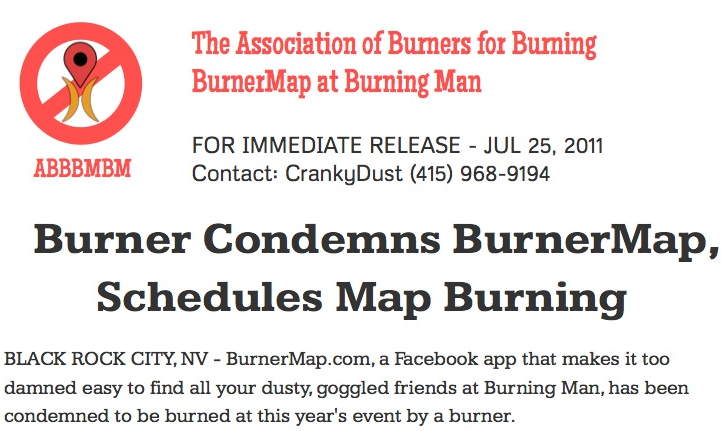 Burner Condemns BurnerMap, Schedules Map Burning